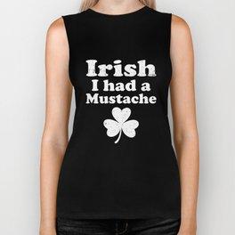 Irish I Had A Mustache Clover Funny St Patricks Biker Tank