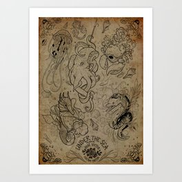 Under the sea Tattoo flash Art Print