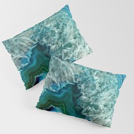 Aqua turquoise agate mineral gem stone Pillow Sham