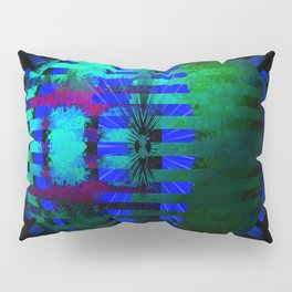 Green Layered Star in Blue Flames Pillow Sham