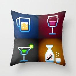 Pixel Drinks Throw Pillow