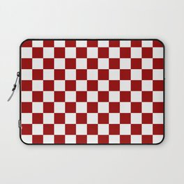 Crimson and White Colors Checker Pattern Digital Design Laptop Sleeve