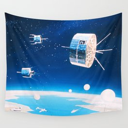 Retro space rocket and satellite vintage sci fi NOAA space and stars illustration drawing Wall Tapestry