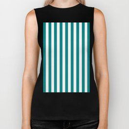 Vertical Stripes (Teal/White) Biker Tank