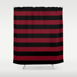 Crimson Burundy Red and Pure Black Stripes Shower Curtain