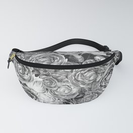 Vintage Roses Black And White Fanny Pack