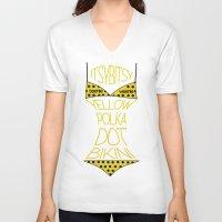 polka dot V-neck T-shirts featuring Yellow Polka Dot Bikini  by Suchita Isaac