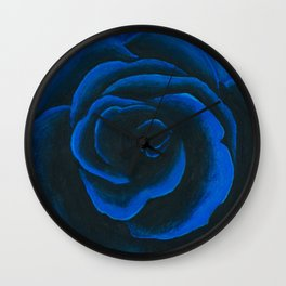 Deep Blue Rose Wall Clock