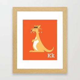 Animal Alphabet - Kangaroo (With Letters) Framed Art Print