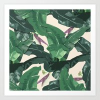 banana leaf Art Prints featuring Banana Leaf Pattern by Tamsin Lucie