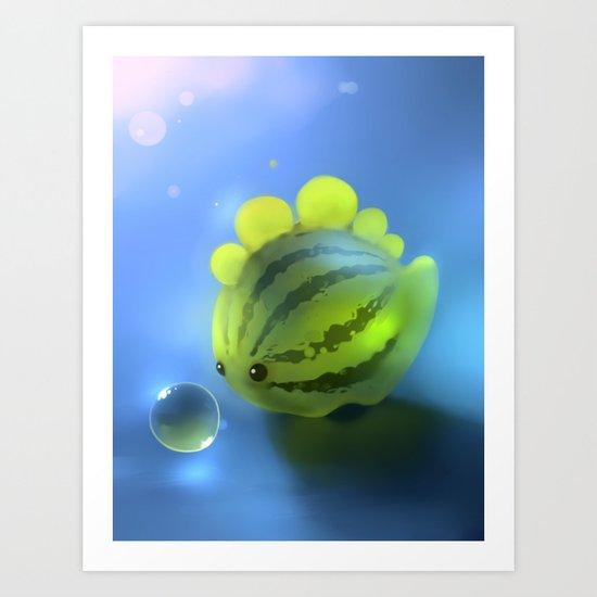 Watermelon Dino Art Print