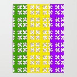 Tri -colored white fleur de lis Poster