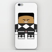 power rangers iPhone & iPod Skins featuring Mighty Morphin Power Rangers - The Original Black Ranger Unmasked (Zack) by Choo Koon Designs