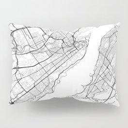 Quebec City Map White Pillow Sham
