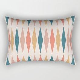 Mid Century Modern Geometric Triangle 221 Orange Teal Dusty Rose and Beige Rectangular Pillow