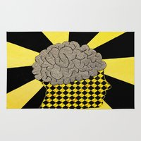 brain Area & Throw Rugs featuring Brain by Art By Carob