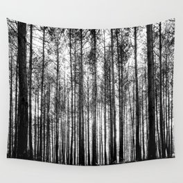 trees in forest landscape - black and white nature photography Wall Tapestry