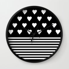 Heart Stripes White on Black Wall Clock