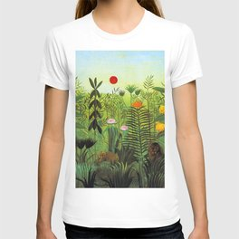 EXOTIC LANDSCAPE WITH LION AND LIONESS IN AFRICA - HENRI ROUSSEAU  T-shirt