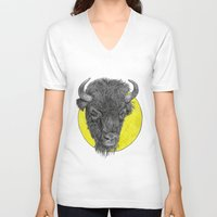 bison V-neck T-shirts featuring Bison by Triple_S_Art