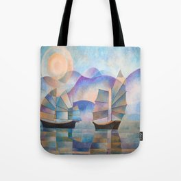 Shades of Tranquility - Cubist Junks Tote Bag