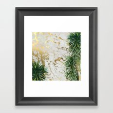 gold marble texture with palm trees Framed Art Print