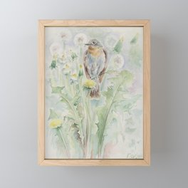 Flycatcher Wildlife bird watercolor painting Framed Mini Art Print