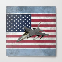 F16 Fighter Jet American Flag Metal Print