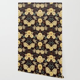 Teal, Cream, Red, Orange & Brown Flowers - Pretty Floral Pattern Wallpaper