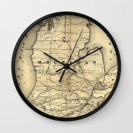 Vintage Michigan, Ohio and Indiana Railroad Map Wall Clock