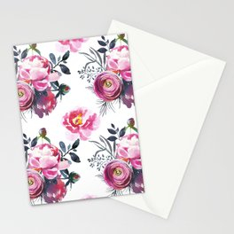 Sophisticated Pink and Gray Floral bouquets on White  Stationery Cards