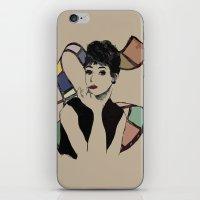 hepburn iPhone & iPod Skins featuring hepburn by jollyjgiant