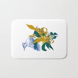 Midnight blooms - Asian paradise fly catcher bird Bath Mat