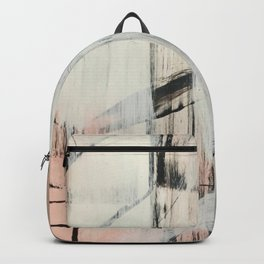 Sweet Tart [2]: a minimal abstract mixed-media piece in pink black and white by Alyssa Hamilton Art Backpack