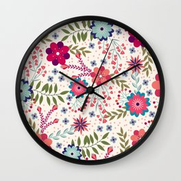 Colorful Floral Spring Pattern Wall Clock