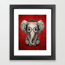 Cute Baby Elephant Dj Wearing Headphones and Glasses on Red Framed Art Print