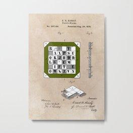 patent Kinsey Puzzle Blocks 1878 Metal Print