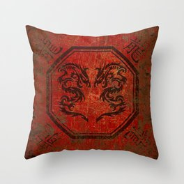 Distressed Dueling Dragons in Octagon Frame With Chinese Dragon Characters Throw Pillow