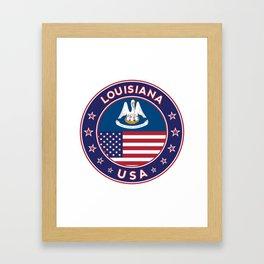 Louisiana, Louisiana t-shirt, Louisiana sticker, circle, Louisiana flag, white bg Framed Art Print