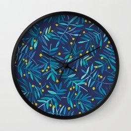 Blue Wattle Wall Clock