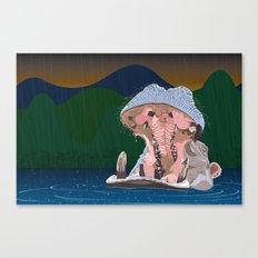 Hippo Rain Canvas Print