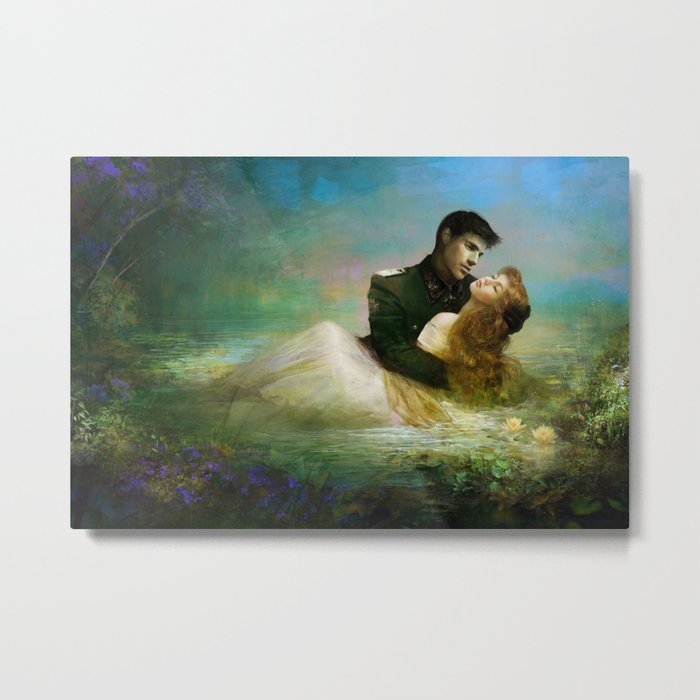 Love me tender - Sad couple in loving embrase in the lake Metal Print