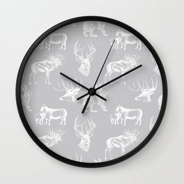 Woodland Critters in Grey Wall Clock