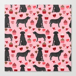 Black Lab valentines day pattern gifts dog pattern with hearts and cupcakes perfect for valentine Canvas Print
