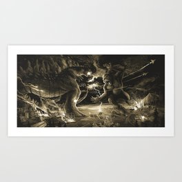 Godzilla vs Kingkong tan Art Print
