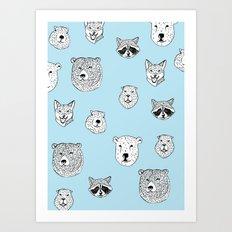 Pattern with animals Art Print