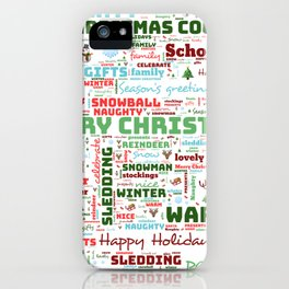Christmas holiday word art iPhone Case