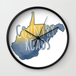 West Virginia Country Roads Watercolor Art Wall Clock