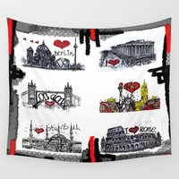 cities Wall Tapestries featuring Cities 2 by sladja