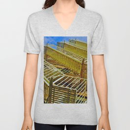 A fire escape grid in Soho Unisex V-Neck